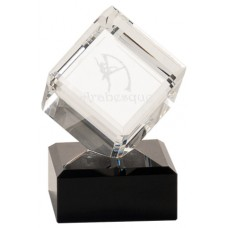 Crystal Cube with Black Pedestal Base